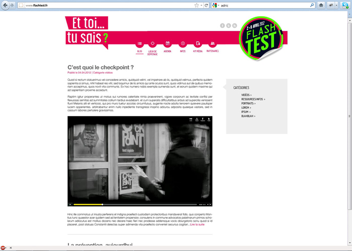 Webdesign campagne Flash Test Sidaction